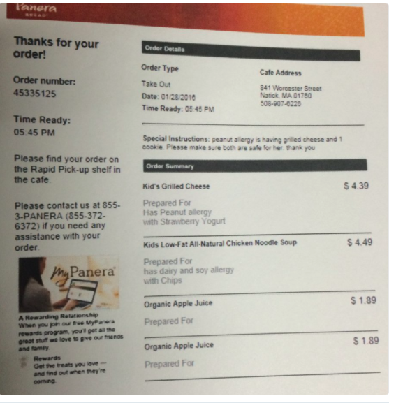 Panera order ticket