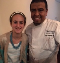 Chef Humberto Corona of Bistango at the Kimberly Hotel in NYC talks with food-allergic teen, Ella.