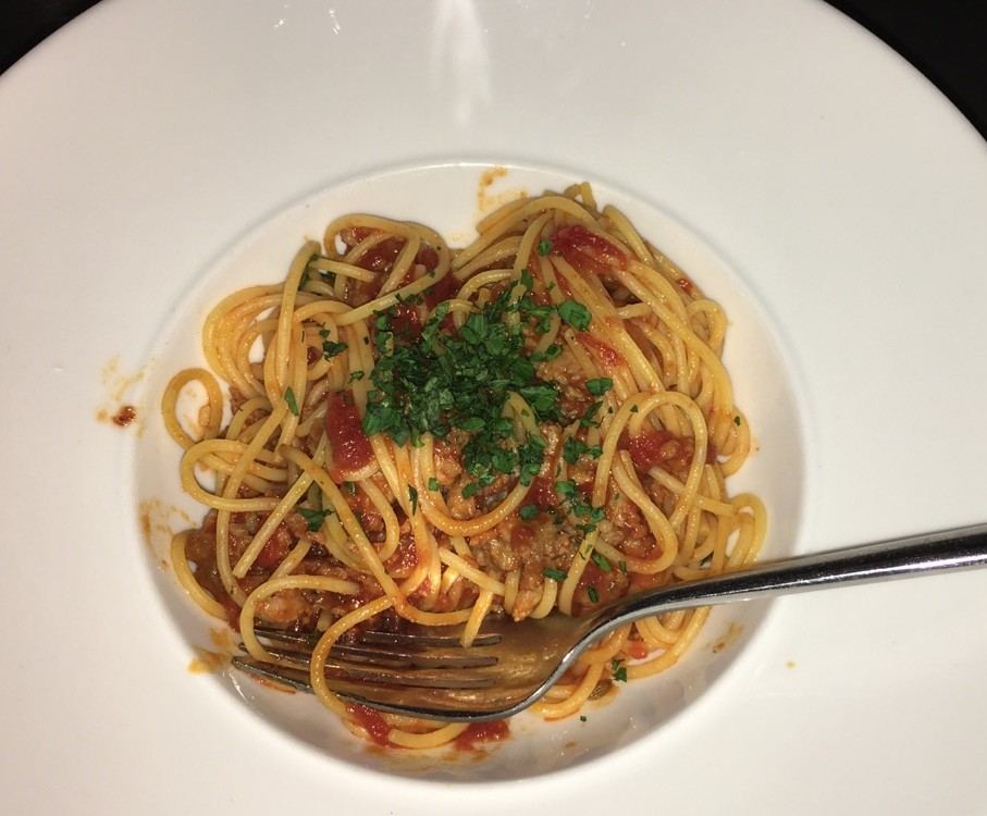 Dairy-free pasta and sausage dish made-to-order at Bistango, NYC.