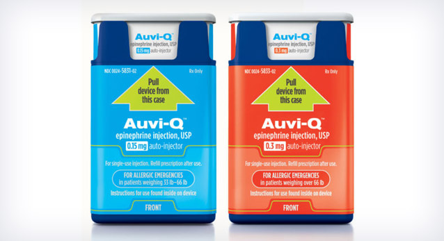 Auvi-Q(tm) (epinephrine injection, USP) is now available by prescription in U.S. pharmacies.  (PRNewsFoto/Sanofi) THIS CONTENT IS PROVIDED BY PRNewsfoto and is for EDITORIAL USE ONLY**