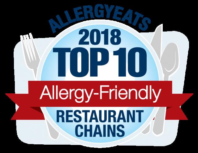2018 Top 10 Most Allergy-Friendly Restaurant Chains