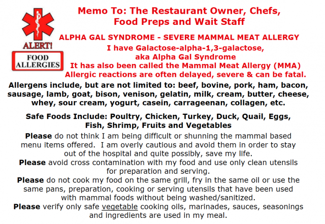Alpha Gal Syndrome Chef Card